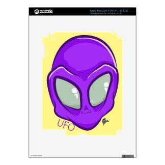 UFO Purple Alien Martian Head Cute Decal For iPad 3