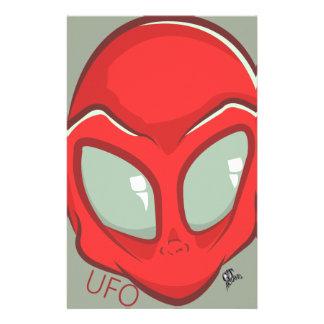 UFO Red Galactic Martian Alien Head Stationery