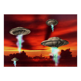 UFO rising poster by Valxart.com