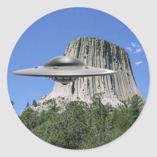 UFO Salamander at Devils Tower Classic Round Sticker