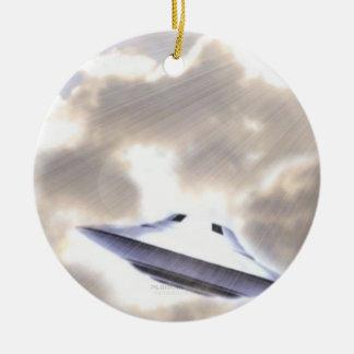UFO Silver Beamship Ornament