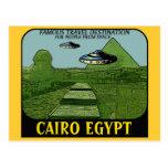 UFO SOBRE DISEÑO DEL VIAJE DEL CAIRO EGIPTO POSTAL