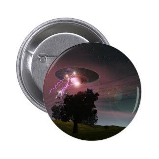 UFO sobre el botón de las líneas eléctricas 2 Pin Redondo De 2 Pulgadas