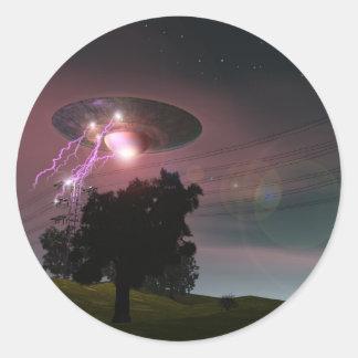 UFO sobre el pegatina de las líneas eléctricas 2