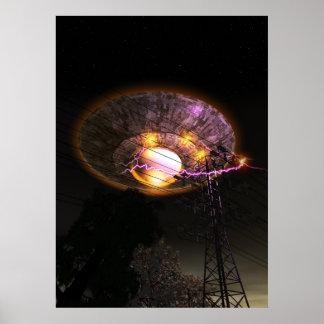 UFO sobre el poster de las líneas eléctricas