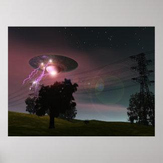UFO sobre el poster de las líneas eléctricas 2