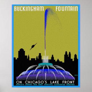 UFO sobre la fuente de Chicago - de Buckingham Posters