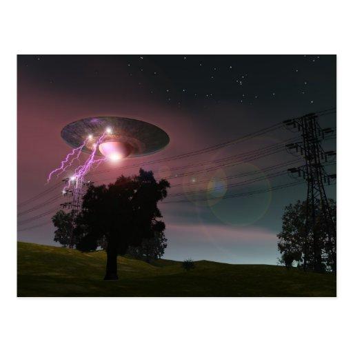 UFO sobre la postal de las líneas eléctricas 2