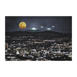 UFO spaceships come to earth Canvas Print
