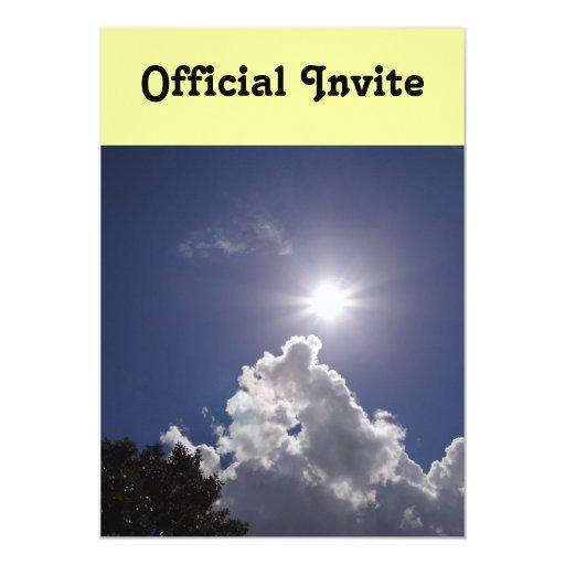 UFO Sunburst Fluffy White Clouds 5x7 Paper Invitation Card