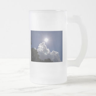 UFO Sunburst Over Fluffy White Clouds Frosted Glass Beer Mug