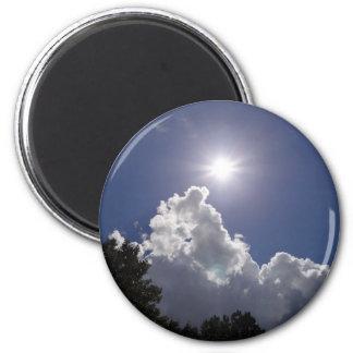 UFO Sunburst Over Fluffy White Clouds 2 Inch Round Magnet