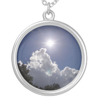 UFO Sunburst Over Fluffy White Clouds Round Pendant Necklace