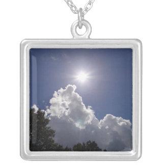UFO Sunburst Over Fluffy White Clouds Square Pendant Necklace