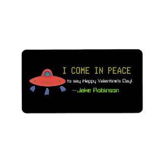 UFO Valentine sticker Address Label