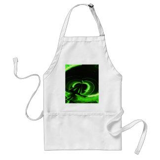 UFO verde de neón abstracto del círculo Delantal
