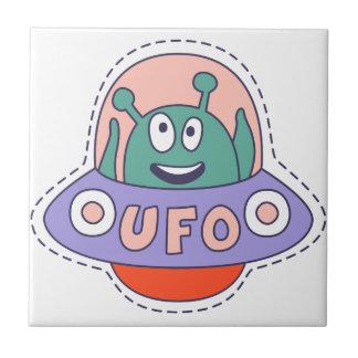 UFO With Alien Ceramic Tile