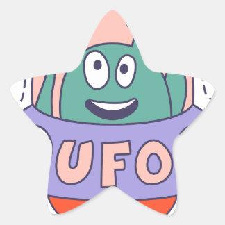 UFO With Alien Star Sticker