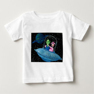 UFO with Martian and Cow Baby T-Shirt