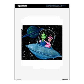 UFO with Martian and Cow Decals For iPad 3