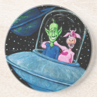 UFO with Martian and Cow Drink Coaster