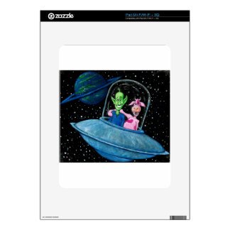 UFO with Martian and Cow iPad Skins