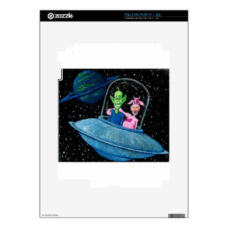 UFO with Martian and Cow Skins For iPad 2