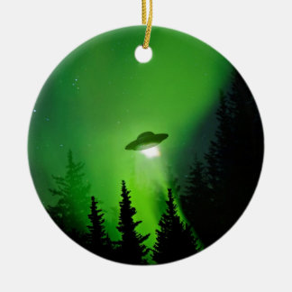 UFO with Northern Lights Ceramic Ornament