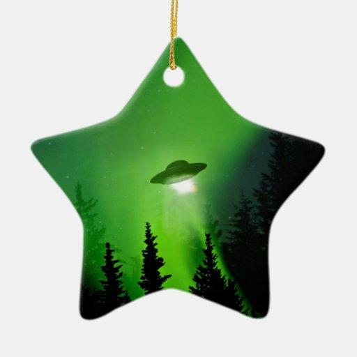 UFO with Northern Lights Christmas Tree Ornament