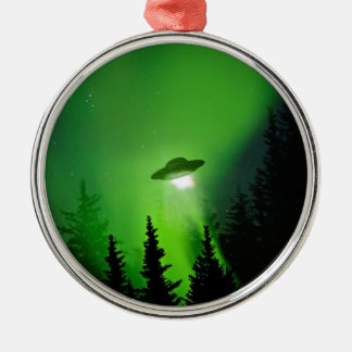 UFO with Northern Lights Metal Ornament