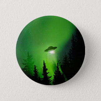 UFO with Northern Lights Pinback Button