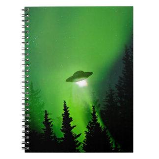 UFO with Northern Lights Spiral Notebook