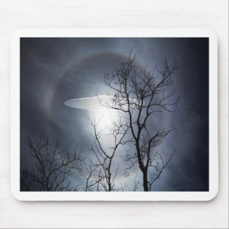 UFO with silhouetted tree branches Mouse Pad