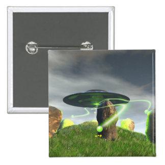 UFO y botón de piedra antiguo del círculo Pin Cuadrado
