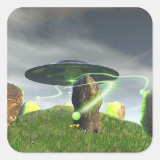 UFO y pegatina de piedra antiguo del círculo
