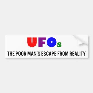 UFOs El escape del pobre hombre de la realidad Pegatina De Parachoque