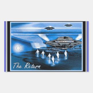 UFOs - la vuelta Pegatina Rectangular