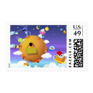 UFO's with planets in space Stamps