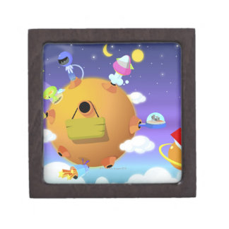 UFO's with planets in space Premium Jewelry Boxes