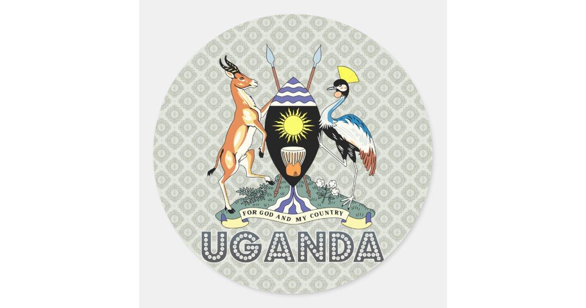 Uganda Coat Of Arms Classic Round Sticker Zazzle Com