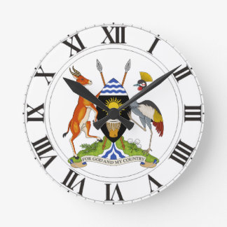 Uganda Coat of Arms Round Wall Clock
