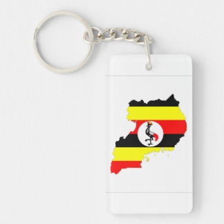 uganda country flag map shape symbol keychain