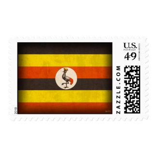 Uganda Flag Distressed Postage Stamps