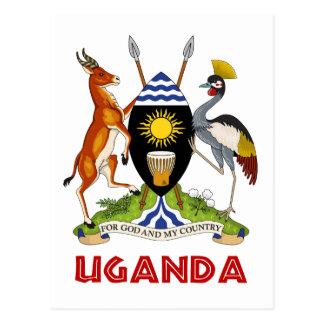 UGANDA - flag emblem coat of arms symbol Postcard