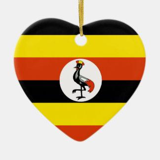 Uganda Flag Heart Christmas Tree Ornament