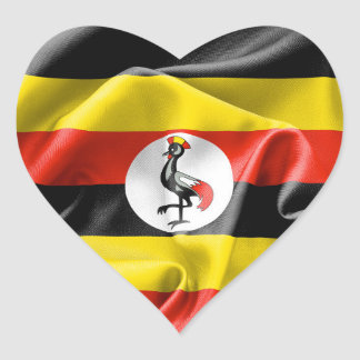 Uganda Flag Heart Sticker
