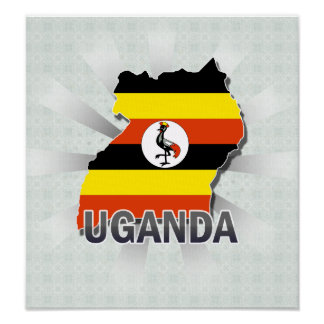 Uganda Flag Map 2.0 Poster