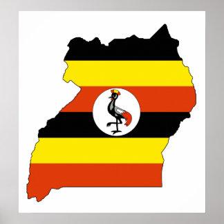 Uganda Flag Map full size Poster