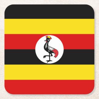 Uganda Flag Square Paper Coaster