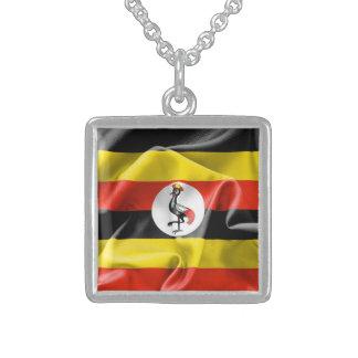 Uganda Flag Sterling Silver Square Necklace